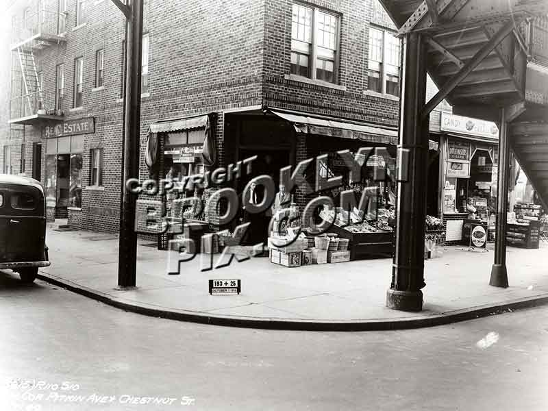 Tom's Grocery at SW corner of Pitkin Avenue and Chestnut Street. Fulton Street el overhead Old Vintage Photos and Images
