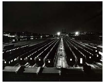 Train Car Lot at Nighttime Bronx Old Vintage Photos and Images