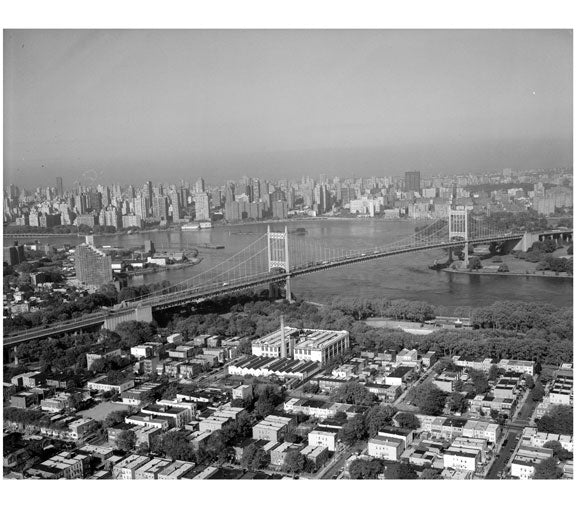 Triborough Suspension Bridge, Queens anchorage at left Old Vintage Photos and Images