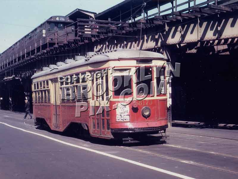 Trolley 8173 on Stillwell Ave. at Coney Island subway terminal ,1940s. Sea Beach train on structure Old Vintage Photos and Images