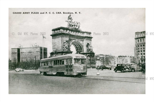 Trolley passing by Grand Army Plaza Old Vintage Photos and Images