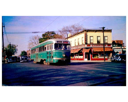 Trolley passing down Church Avenue - Flatbush Brooklyn, NY  1956 H Old Vintage Photos and Images