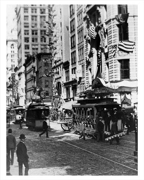 Trolleys passing Broadway Midtown Manhattan 1914 NYC Old Vintage Photos and Images