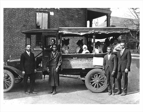 "People pose with their Church ""van"" in Harlem Old Vintage Photos and Images"