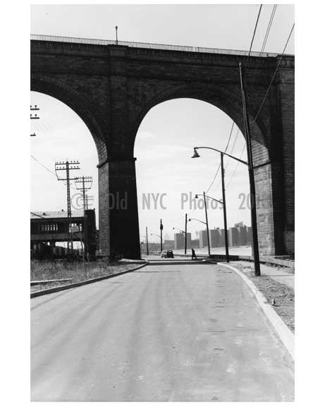 Under the west side of Washington Bridge - Harlem -  New York, NY 1958 Old Vintage Photos and Images