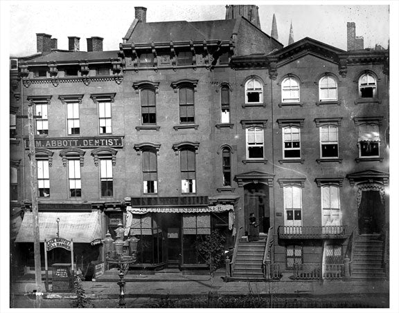 Undertaker & Dentist next to Brownstones Old Vintage Photos and Images
