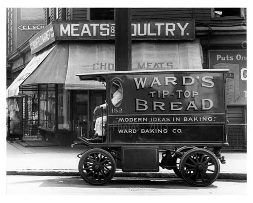 Upclose shot of a bakery truck & Butcher shop on St. Ann's & Westchester Ave - Bronx, NY  1917 Old Vintage Photos and Images