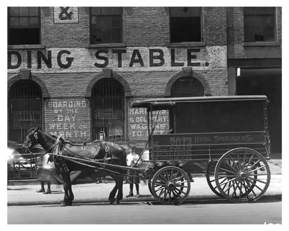 Upclose shot of Horse & Wagon outside of the 7th Avenue Sale Exchange & Boarding Stable  - Midtown Manhattan - 1914 Old Vintage Photos and Images