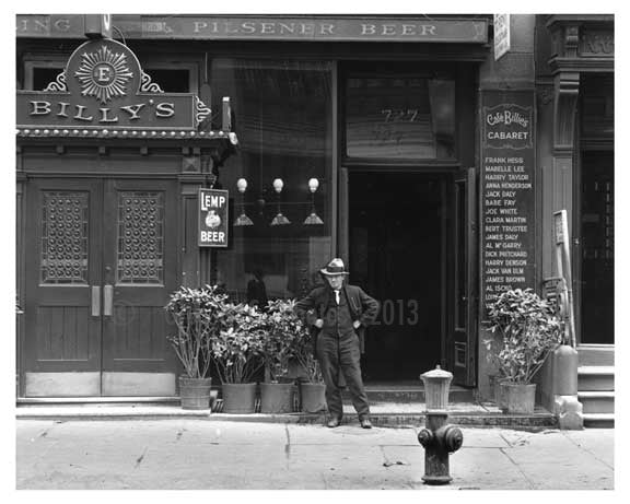 Upclose shot of man standing outside 'Cafe Billies' 7th Avenue - Midtown - Manhattan 1915 Old Vintage Photos and Images