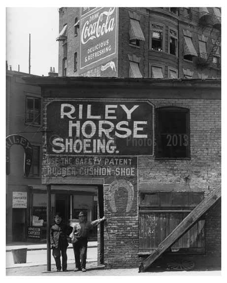 Upclose shot of Riley Horse Shoe co. & Iron Works on 7th Avenue  - Midtown Manhattan - 1914 Old Vintage Photos and Images