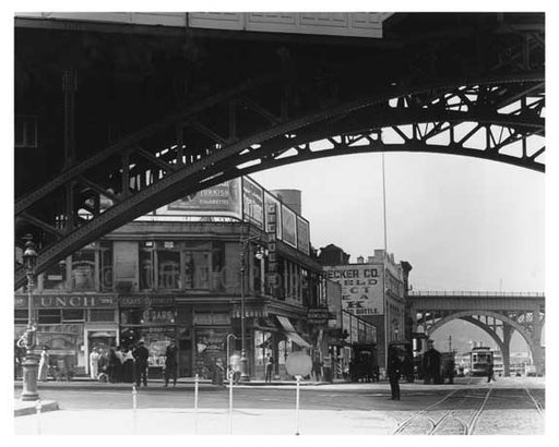Upclose view of 125th Street IRT Subway Viaduct looking down Manhattan Avenue 1915 Old Vintage Photos and Images