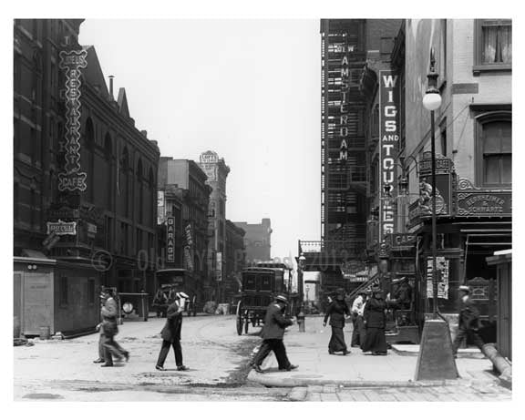 Upclose view of people walking in the middle of the street 7th Avenue between 40th & 41st Streets  - Midtown Manhattan - 1915 Old Vintage Photos and Images