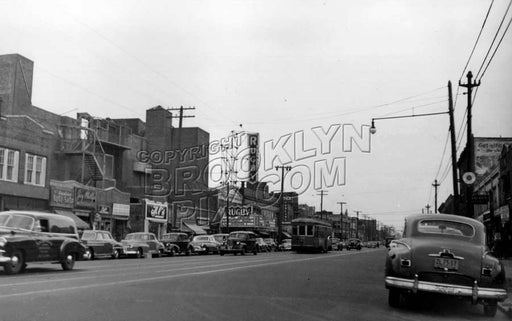 Utica Avenue looking south to Church Avenue showing Rugby Theater, 1951 Old Vintage Photos and Images