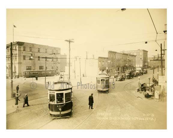 Vernon Blvd & NW corner of 50th Ave (4th stret) 11.10.31 - Long Island City - Queens NY Old Vintage Photos and Images