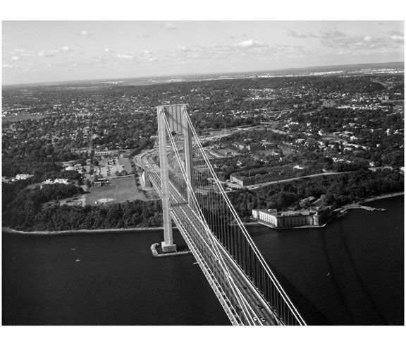 Verrazano Bridge - Staten Island tower, with Fort Wadsworth to the right Old Vintage Photos and Images