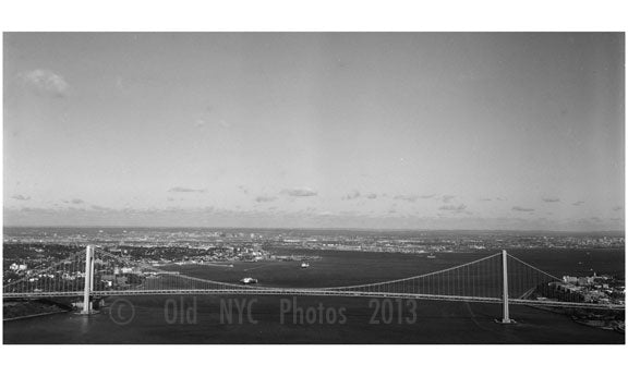 Verrazano Narrows Bridge - aerial shot of the bridge from end ot end Old Vintage Photos and Images