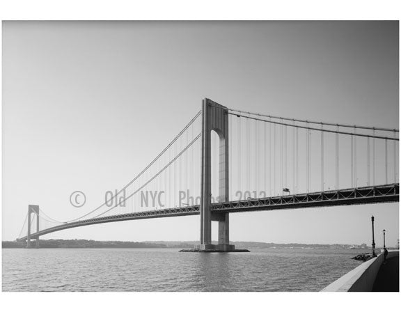Verrazano Narrows Bridge - Brooklyn Tower looking west Old Vintage Photos and Images