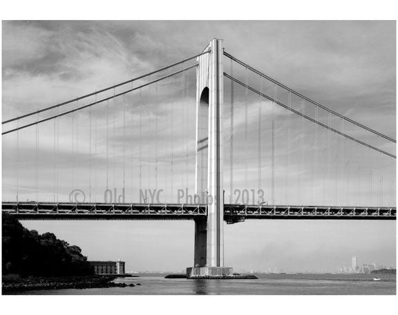 Verrazano Narrows Bridge - Fort Wadsworth Tower in background left Old Vintage Photos and Images