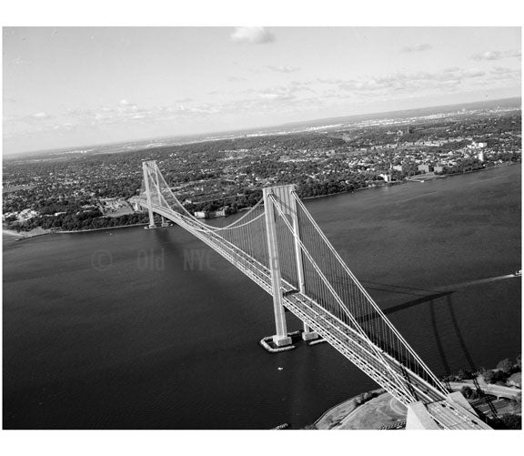 Verrazano Narrows Bridge - looking southwest toward Staten Island Old Vintage Photos and Images