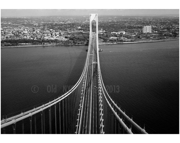 Verrazano Narrows Bridge - roadway, cables & Brooklyn Tower looking left Old Vintage Photos and Images