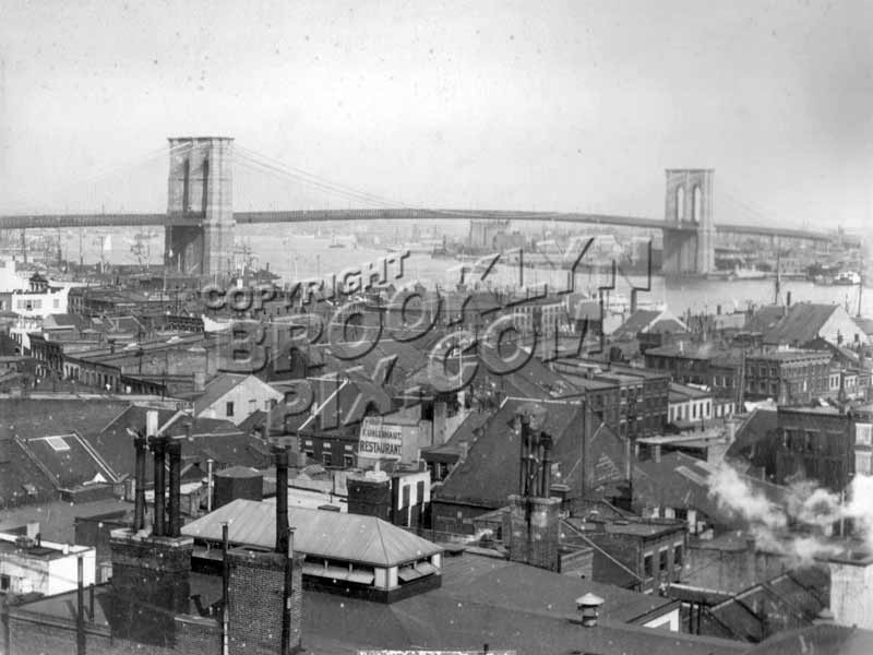 View from Lower Manhattan toward Brooklyn Bridge, c.1900 Old Vintage Photos and Images