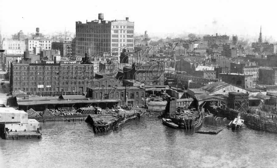 View of Williamsburg showing Gretsch Building, built 1916, from Williamsburg Bridge, 1935 Old Vintage Photos and Images