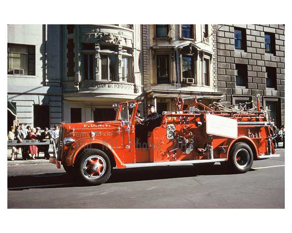 Vintage FDNY Fire truck - 5th Avenue Parade 1960s Manhattan Old Vintage Photos and Images