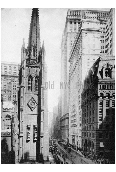 Wall Street & Braodway north of Trinity Church Old Vintage Photos and Images