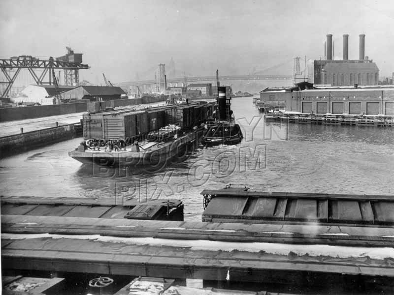 Wallabout Channel railroad car float being moved by tugboat, February 1941 Old Vintage Photos and Images