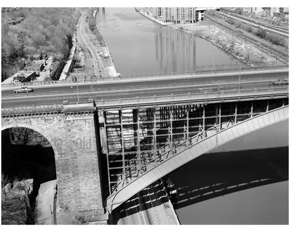 Washington Bridge - detail of masonry arch - spanning the Harlem River Old Vintage Photos and Images