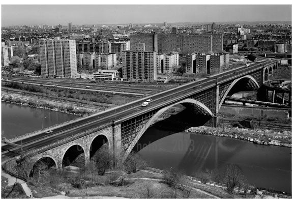 Washington Bridge - view of north side of the bridge with Manhattan in the Background Old Vintage Photos and Images