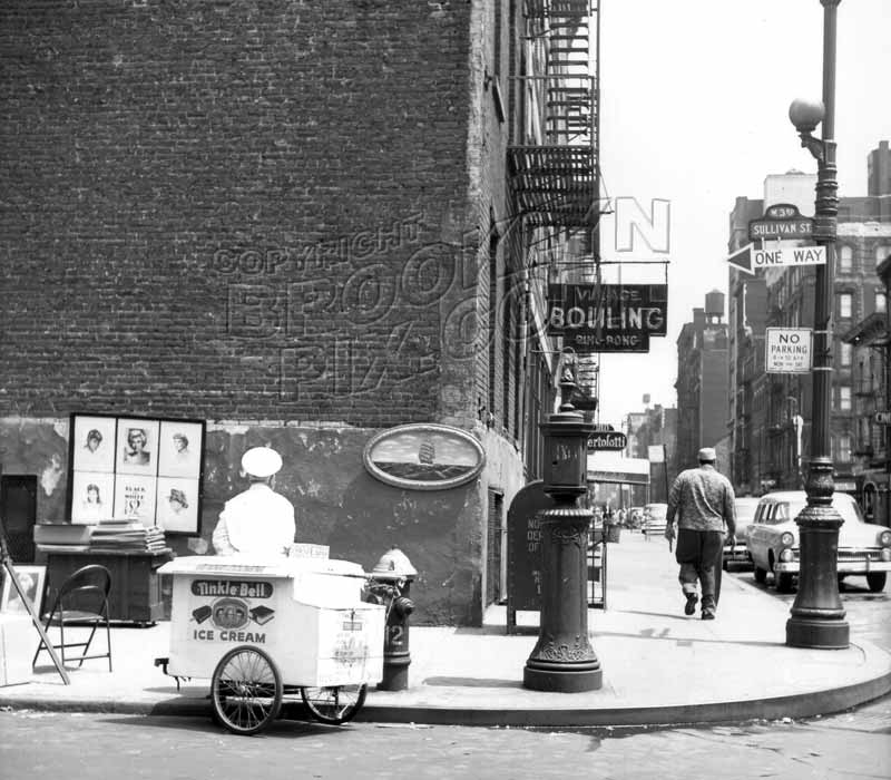 West 3rd Street, east from Sullivan Street, Greenwich Village, late 1950s, during the annual art show Old Vintage Photos and Images
