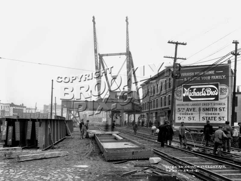 West End elevated being built at New Utrecht Avenue at 42nd Street, 1915 Old Vintage Photos and Images