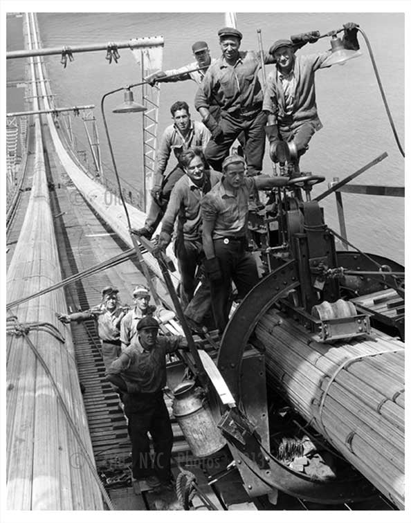 Willamsburg Bridge construction workers Old Vintage Photos and Images