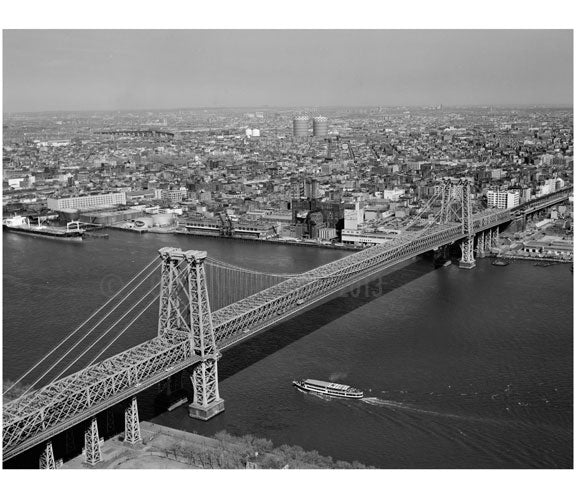 Williamsburg Bridge -  view from Manhattan with Queens in the background Old Vintage Photos and Images