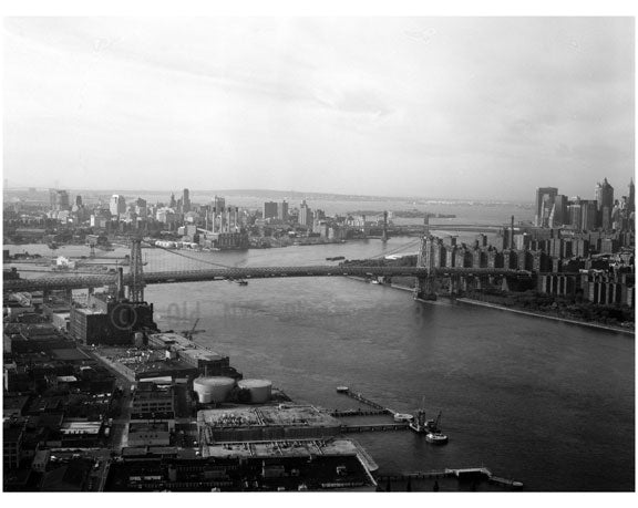 Williamsburg Bridge - overlooking the east river looking south towards Brooklyn on the left & Manhattan to the right Old Vintage Photos and Images
