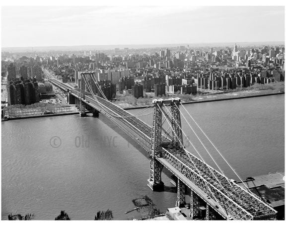 Williamsburg Bridge - view from Manhattan with Brooklyn in the background Old Vintage Photos and Images