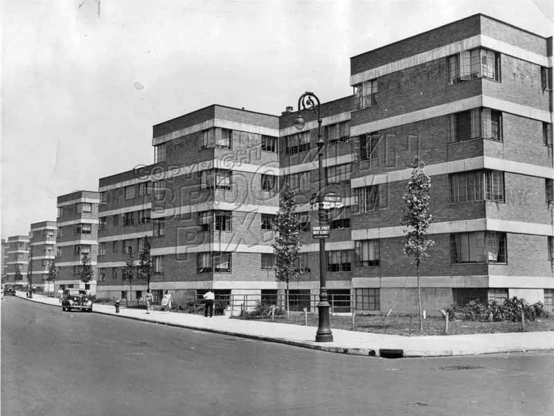 Williamsburg Houses, corner Humboldt and Scholes Streets, 1938 Old Vintage Photos and Images