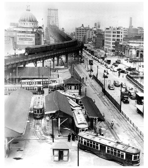 Williamsburgh Bridge Plaza 1946 Old Vintage Photos and Images