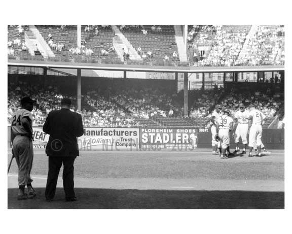 Willie Mays at bat - Dodgers pitching conference at Ebbets Field 1957 1
