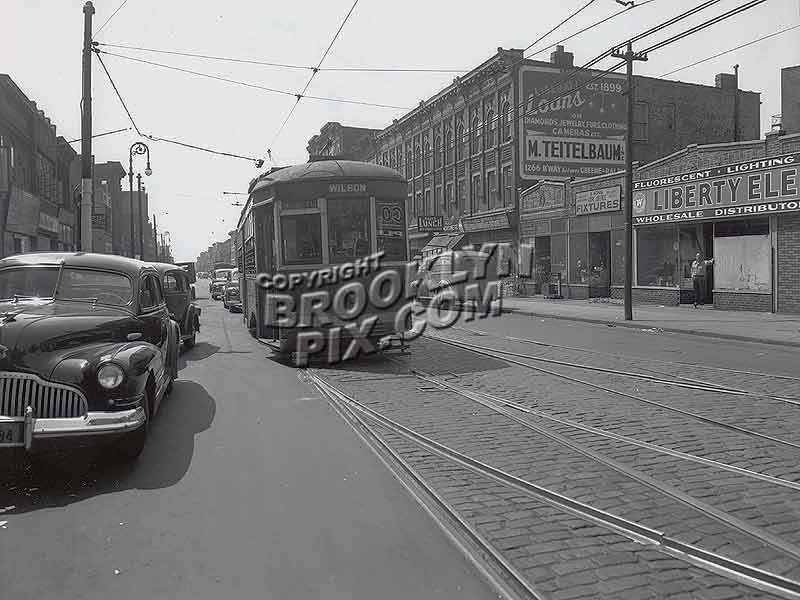 Wilson Avenue trolley on Rockaway Avenue, ca. 1948 Old Vintage Photos and Images