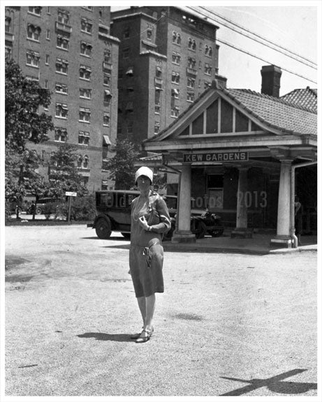 Woman in front of Kew Gardens LIRR Station 1928 Old Vintage Photos and Images