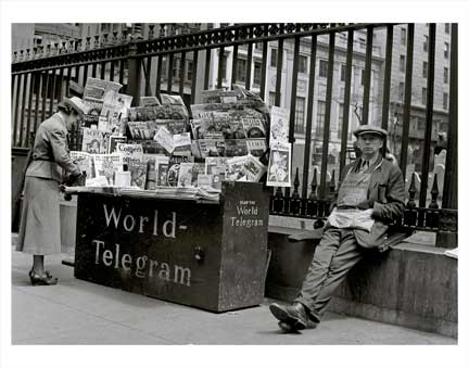 World Telegram News Stand Old Vintage Photos and Images