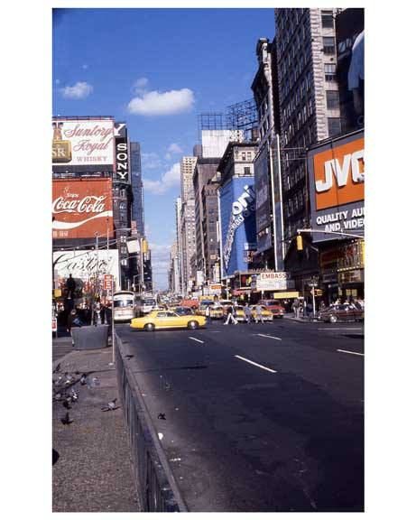 Yellow cabs pass through 1970s Times Square Old Vintage Photos and Images