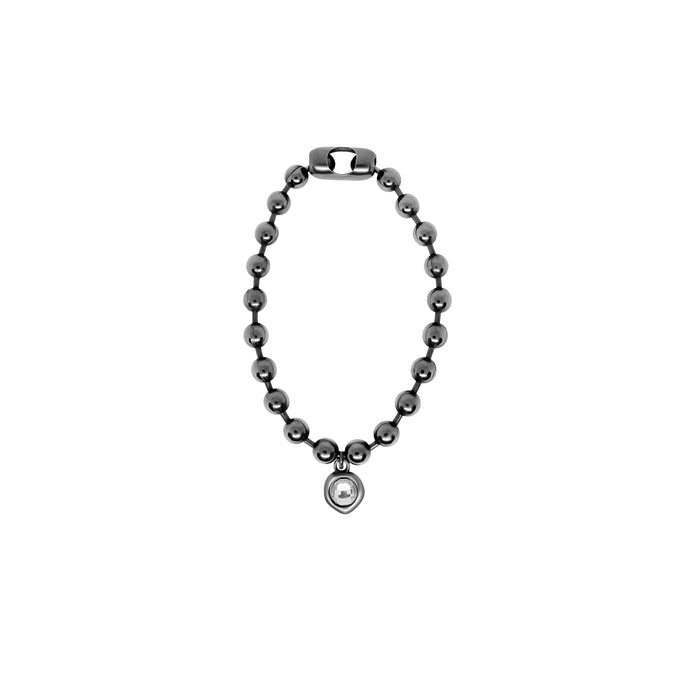 Silver ball chain bracelet with crystal charm.