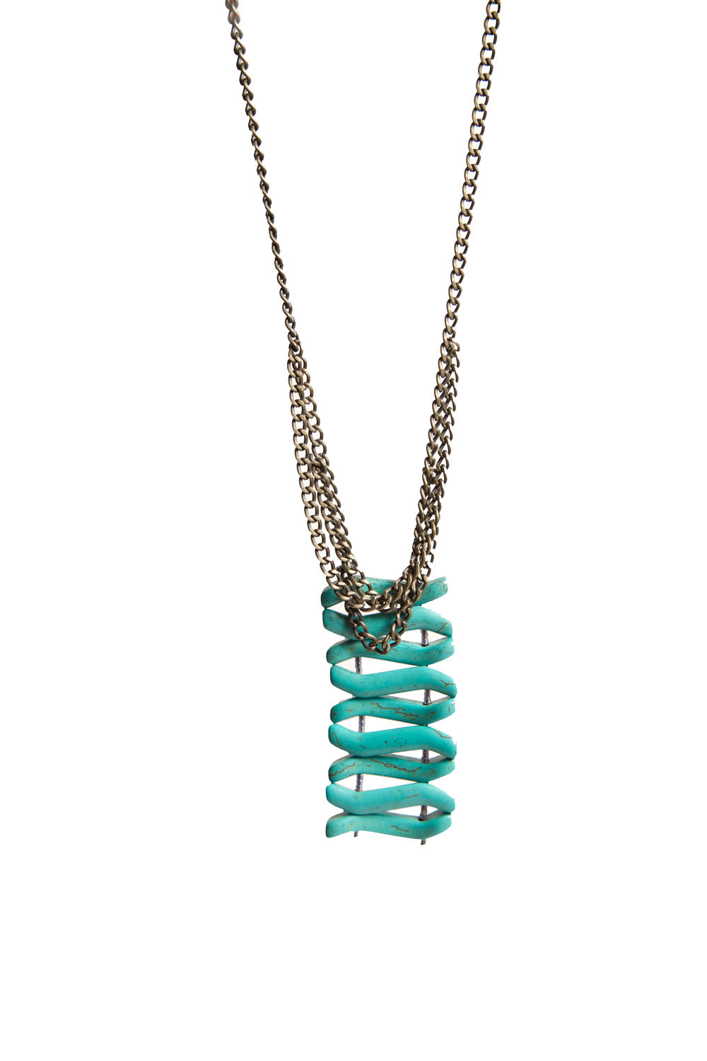Turquoise necklace with silver chain.