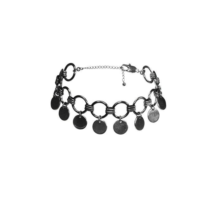 Women's charm choker  necklace in silver.