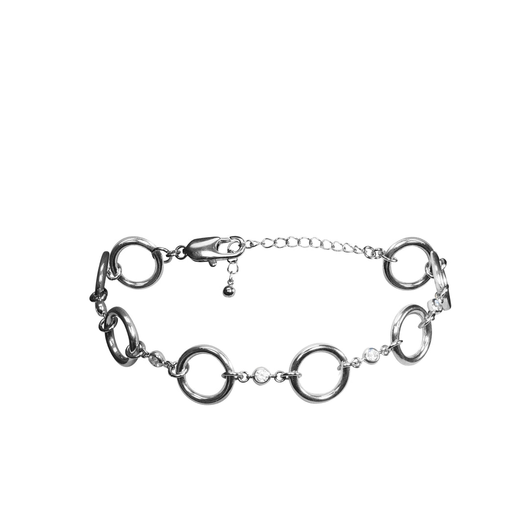 Silver circle choker with faux diamond accents