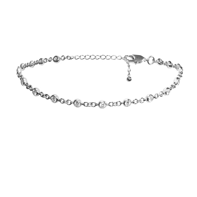Women's diamond wedding choker necklace in silver.