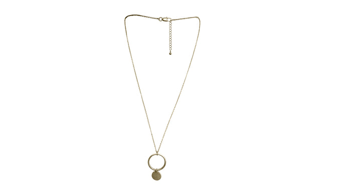 JoRocco's Andres necklace is an everyday staple. Our long detailed gold chain adjusts in length while our statement circle charm dangles for a fine accent